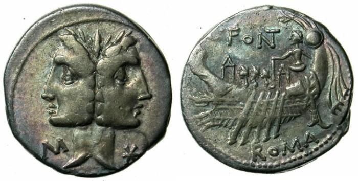 Ancient Coins - ROME.REPUBLIC.C.Fonteius 114 or 113 BC.AR.Denarius.Ship with Pilot and three oarsmen.