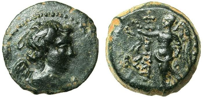 Ancient Coins - SYRIA.Uncertain Phoenician mint.Antiochus IX Kyzikenos 114/3-96/95 BC.AE.18~~~.Bust of Eros.~#~ Nike.