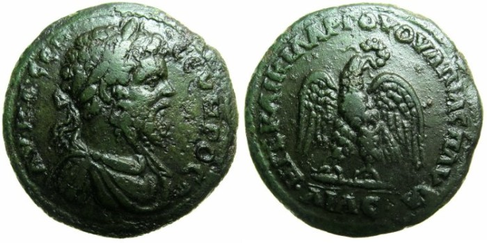 Ancient Coins - THRACE.PAUTALIA.Septimius Severus AD 193-211.AE28.5.~~~Eagle wreath in beak.
