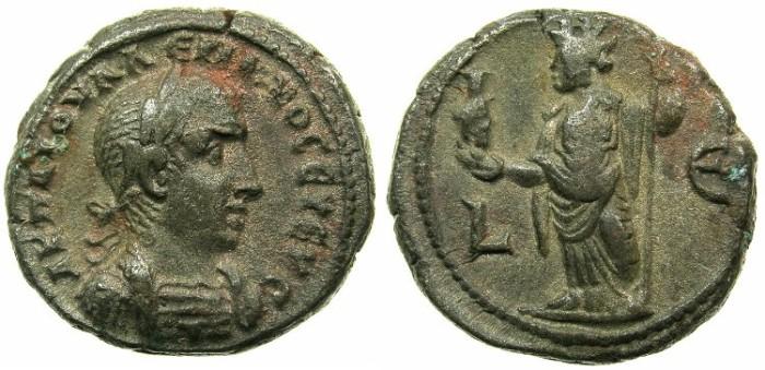 Ancient Coins - EGYPT.ALEXANDRIA.Valerian I ( The elder ) AD 253-260.Billon Tetradrachm Struck AD 257/58.