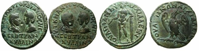 Ancient Coins - THRACE.ANCHIALUS.Gordian III and Tranquillina AD 241-244.AE.Two coins obverse die match.~#~.Apollo. ~#~. Eagle.