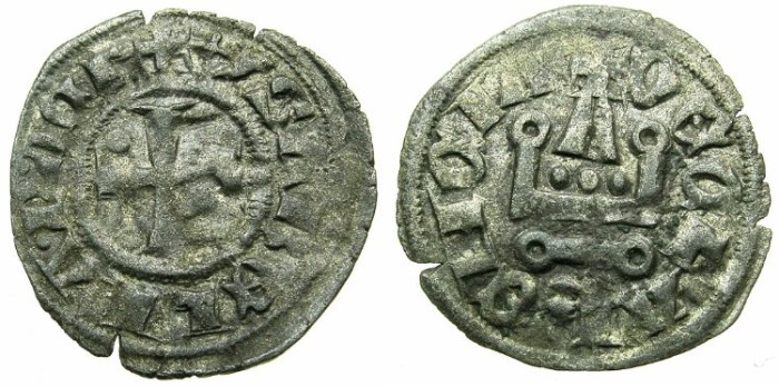 Ancient Coins - CRUSADER STATES.GREECE.Principality of ACHAIA.Isabella of Villehardouin AD 1289-1297.Billon Denier.Type Y3.