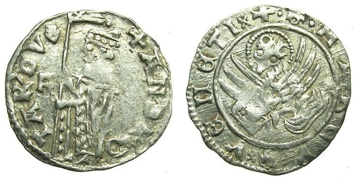 Ancient Coins - ITALY.VENICE.Andrea Contarini AD 1368-1382.AR.Soldino.2nd Type.1st.issue.Sigla F