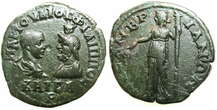 Ancient Coins - THRACE.MESEMBRIA.Philip II Caesar and Serapis AD 244-247.AE.25.8mm.~#~.Demeter standing.
