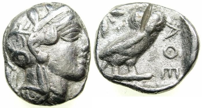 Ancient Coins - ATTICA. ATHENS.AR Tetradrachm. struck after 449 BC.Head of Athena.~#~. Owl.