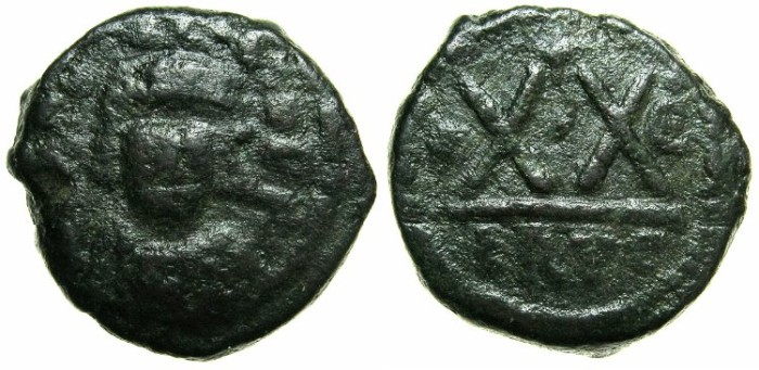 Ancient Coins - BYZANTINE EMPIRE.Heraclius AD 610-641.AE.Half follis, struck AD 614/15.Mint of CARTHAGE.