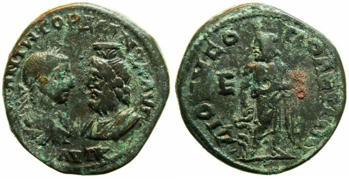Ancient Coins - MOESIA INFERIOR.DIONYSOPOLIS.Gordian III and Serapis AD 238-241.AE.5 Assaria.~#~Asklepios.
