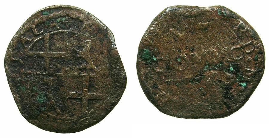 World Coins - MALTA.Fra.Cardinal Hugues Loubens de Verdalle AD 1582-1595.AE.Grano