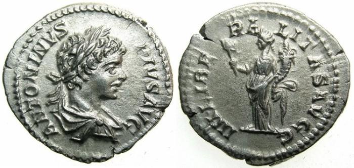 Ancient Coins - ROMAN.Carcacalla Augustus AD 198-209.AR.Denarius .1st issue undate circa 201-206.~~~Liberalitas standing.