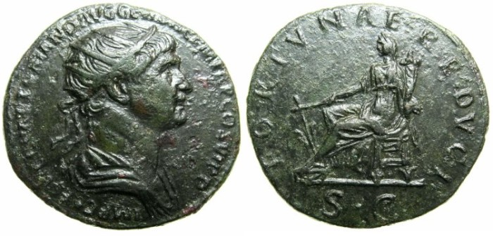 Ancient Coins - ROMAN.Trajan AD 98-117.AE.Dupondius.Struck AD 112-115.~~~Fortuna seated holding rudder and cornucopiae
