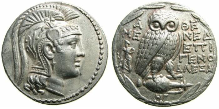 "Ancient Coins - ATTIKA.ATHENS.AR.""New Stlye"" Tetradrachm.Struck 167/6 BC.Magistrates MENED, EPIGENO and ALEXA.~~~ Artistic style."