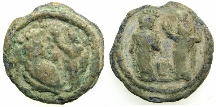 Ancient Coins - EGYPT ALEXANDRIA.Roman Period.2nd -3rd cent AD.Lead Token.Nilus and Euthinia~~Isis and Harpkrates.