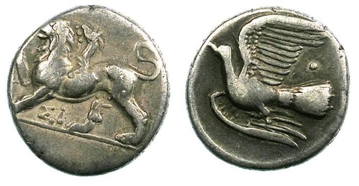Ancient Coins - SICYONIA.Sikyon.C.4th C.BC.AR.Hemidrachm.Chimaera / Dove.