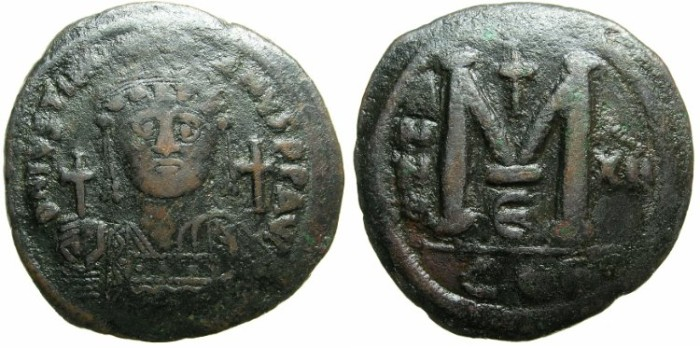 Ancient Coins - BYZANTINE EMPIRE.Justinian I AD 527-565.AE.Follis.AD 538/39.Mint of CONSTANTINOPLE.
