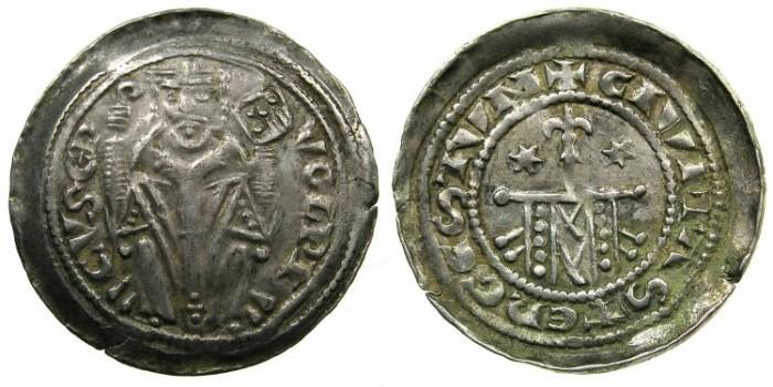 Ancient Coins - ITALY.TRIEST.Ulrich Von Portis AD 1233-1254.AR.Denar.~#~.Standard on lance.