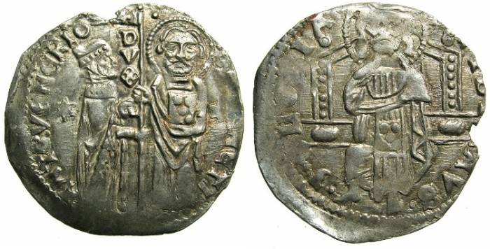 Ancient Coins - ITALY.VENICE.Antonio VenierAD  1382-1400.AR.Grosso. 3rd Type.without sigla.~~~Clear portraits of Saint Mark and Doge.