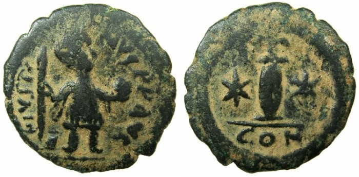 Ancient Coins - BYZANTINE EMPIRE.Justin II AD 565-578.AE.10 Nummia.Mint of CONSTANTINOPLE.