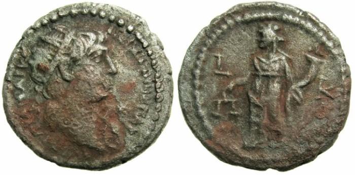 Ancient Coins - EGYPT.ALEXANDRIA.Trajan AD 98-117.Billon Tetradrachm.AD 116/17.~#~Dikaiosyne standing left.