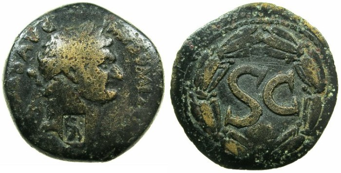 Ancient Coins - SYRIA.SELEUCIS AND PIERIA.ANTIOCH.Domitian AD 81-96.AE.As?.Obverse countermarked with standing figure of ATHENA.