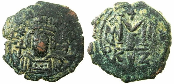 Ancient Coins - BYZANTINE EMPIRE.Heraclius AD 610-641.AE.Follis.AD 611/12.Mint of CYZICUS.
