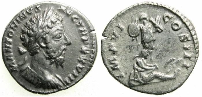 Ancient Coins - ROME.IMPERIAL.Marcus Aurelius AD 161-180.AR.Denarius.Struck AD 173/74.----GERMAN CAPTIVE.