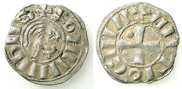 "Ancient Coins - CRUSADER.ANTIOCH.Bohemond III AD 1149-1163.Bi.""Bare head"" Denier.Class B."