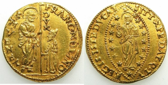 Ancient Coins - ITALY.Venice.Francesco Molin 1646-1655.AV.Zecchino.