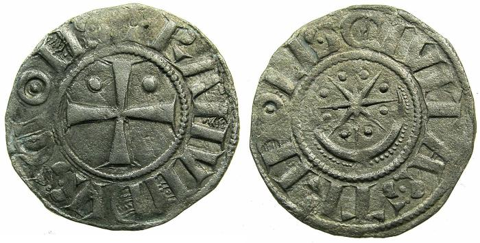 World Coins - CRUSADER.County of TRIPOLI.Raymond II AD 1137-1187.Bi.Denier.Type 2.