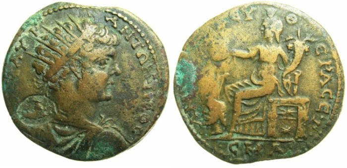 Ancient Coins - PONTUS.AMISUS.Caracalla AD 198-217.AE.32.3mm.Struck 209/10.~~~Radiate Caracalla.~#~Tyche enthroned, resting rudder on head of river God.