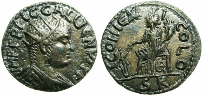 Ancient Coins - LYCAONIA.ICONIUM.Gallienus AD 253-268.AE.23.~~~TYCHE seated .