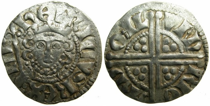 "Ancient Coins - ENGLAND.Henry III AD 1216-1272.AR.Penny.""Long cross""class 5g.Moneyer RICARD.Mint of LONDON."