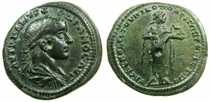 Ancient Coins - MOESIA INFERIOR.NIKOPOLIS AD ISTRUM.Gordian III AD 238-244.AE.27mm.~#~.Hygieia standing feeding snake.