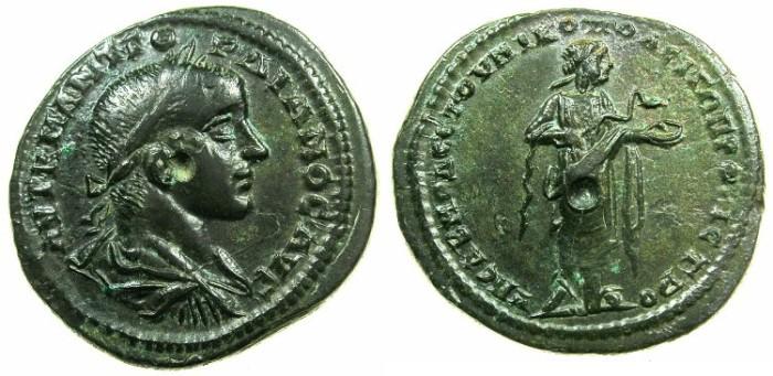 Ancient Coins - MOESIA INFERIOR.NIKOPOLIS AD ISTRUM.Gordian III AD 238-244.AE.27mm.~#~.Hygieia standing feeding snake.