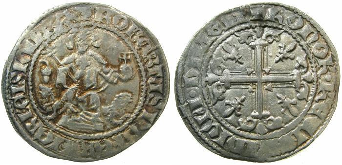 World Coins - ITALY.NAPLES.Robert The Wise AD 1309-1343.AR.Gigliato.Acorn symbol in field. strcuk circa 1317-1319.