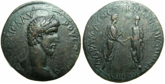 Ancient Coins - PONTUS.AMASIA.Lucius Verus AD 161-169.AE.35mm.stuck AD 162/3.~#~Marcus Aurelius and Lucius Verus standing greeting each other.