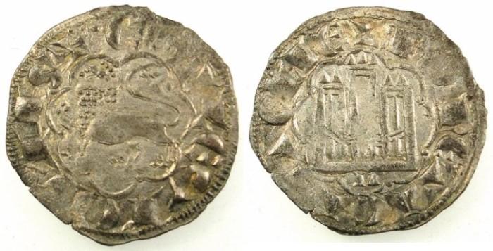 World Coins - SPAIN.CASTILE AND LEON.Alfonso X 1252-1284.Bi.Denaro.Leon mint.