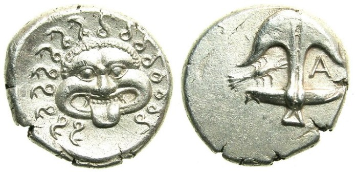 Ancient Coins - BLACK SEA.Apollonia Pontika.Mid to Late 4th cent BC.AR.Drachma.Gorgoneion.Anchor, crayfish and letter A.