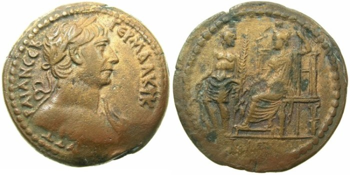 Ancient Coins - EGYPT.ALEXANDRIA.Trajan AD 98-117.AE.Drachma, struck AD 112/113.~#~.Serapis seated, Hermanubis standing at his side. **** VERY RARE REVERSE TYPE *****