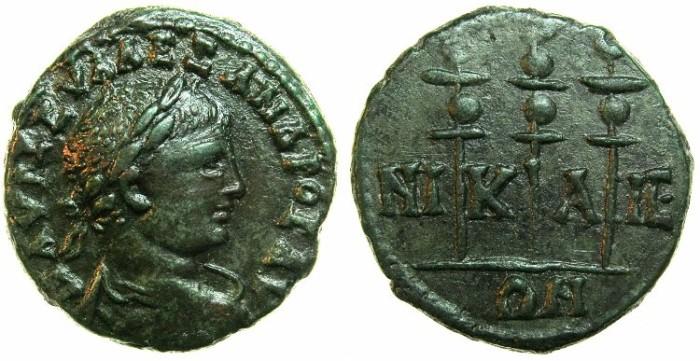 Ancient Coins - BITHYNIA.NIKAEA.Severus Alexander AD 222-235.AE.20.6mm.~#~.Three standards.