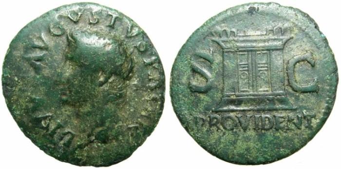 Ancient Coins - ROMAN.Divus Augustus died AD 14.AE.Dupondius struck Rome circa AD 22/23 under Tiberius AD 14-37.