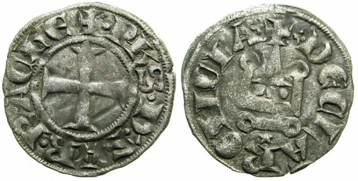 Ancient Coins - CRUSADER. ACHAIA.Philip of Savoy AD 1301-1307.Bi.Denier.Type PS1.Mint of CORINTH.