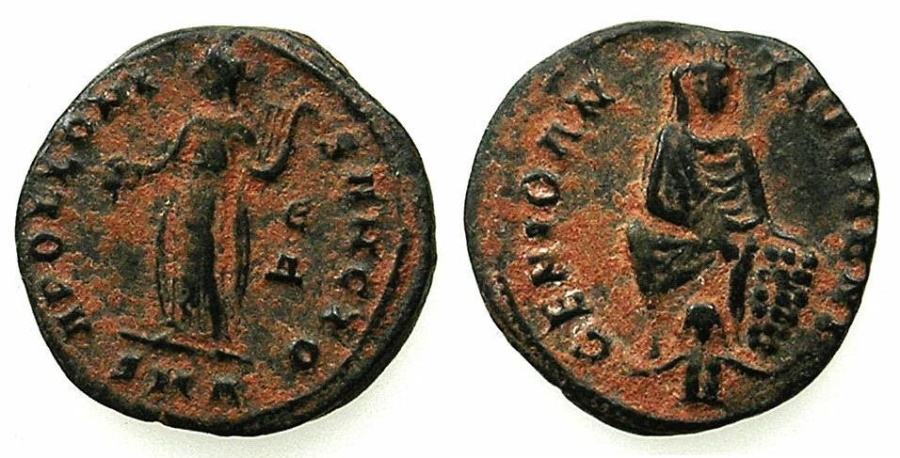 "Ancient Coins - ANTIOCH.Maximianus II AD 310-313.AE.""Persecution"" issue. ~~~Tyche of Antioch. ~#~.Apollo."