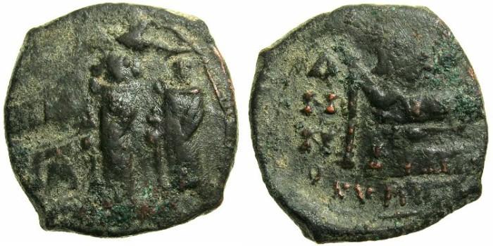 Ancient Coins - BYZANTINE EMPIRE.CYPRUS.Heraclius AD 610-641.AE.Follis AD 628/629.