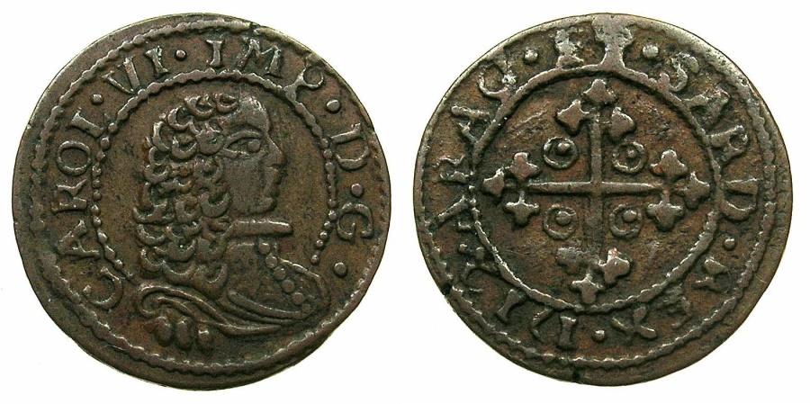 World Coins - ITALY.SARDINIA.Charles III of Austria, King of Sardinia 2nd period 1712-1716. AE.Cagliarese 1712