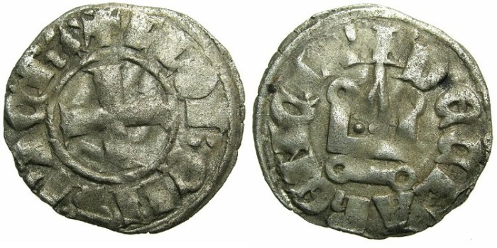 World Coins - CRUSADER STATES.GREECE.Principality of ACHAIA.Florent of Hainault AD 1289-1297.Bi.Denier.Type F2.Mint of CORINTH