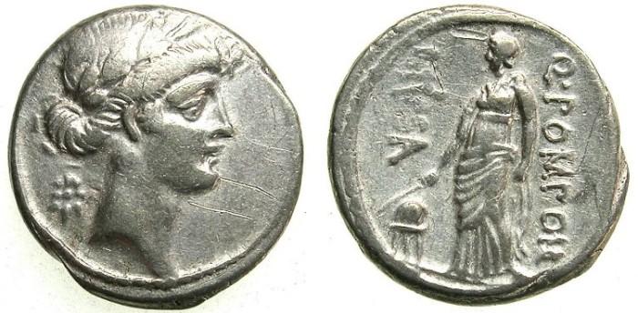 Ancient Coins - ROME.REPUBLIC.Q.Pomponius Musa 66 BC.AR.Denarius. URANIA