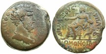 Ancient Coins - EGYPT.ALEXANDRIA.Aelius Caesar AD 136-138.AE.Drachma, dated 2nd consulship AD 137.~#~.Homonia seated.