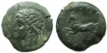 Ancient Coins - NUMIDIA.Massinissa or Micipsa circa 203-148-118 BC.AE.26.6mm.