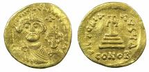 Ancient Coins - BYZANTINE EMPIRE.Heraclius AD 610-641 with Heraclius Constantine Augustus from AD 613.AV.Solidus. Mint of CONSTANTINOPLE.