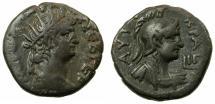 Ancient Coins - EGYPT.ALEXANDRIA.Nero AD 54-68.Billon Tetradrachm, struck AD 66/67. Rev.Attractive bust of Roma.